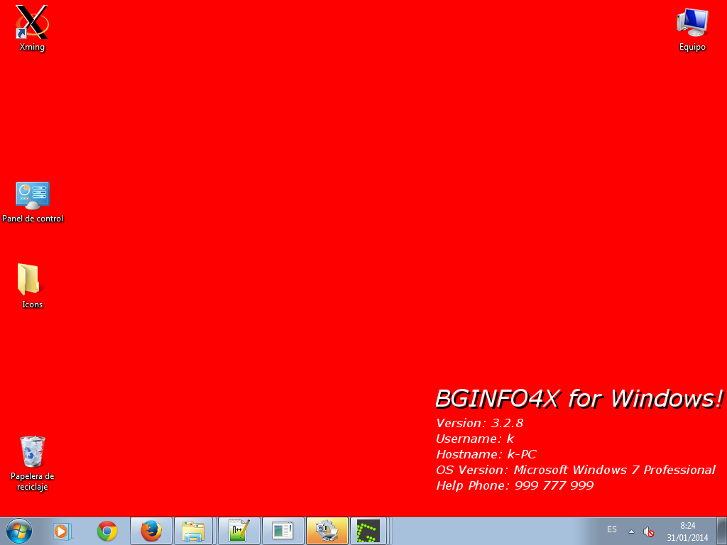 BGINFO4X for Windows - Solid Color Red